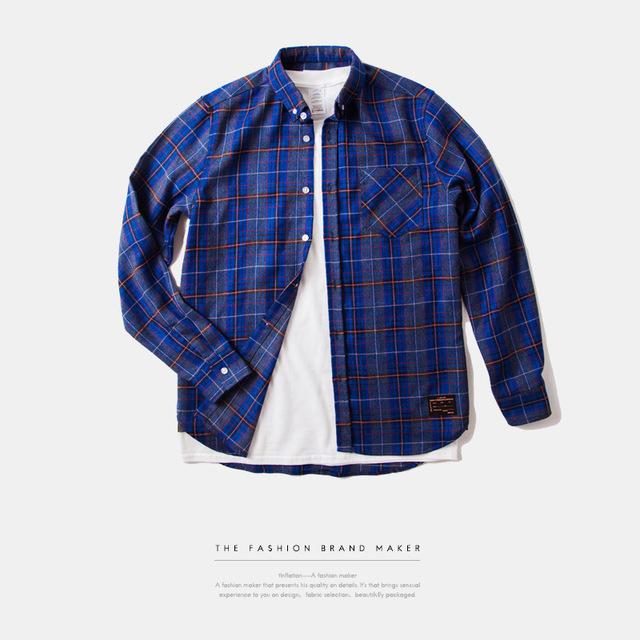 538950555990_蓝色 INF前短后长高品质面料格纹衬衣