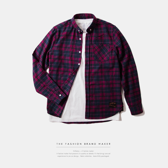 538950555990_紫色 INF前短后长高品质面料格纹衬衣