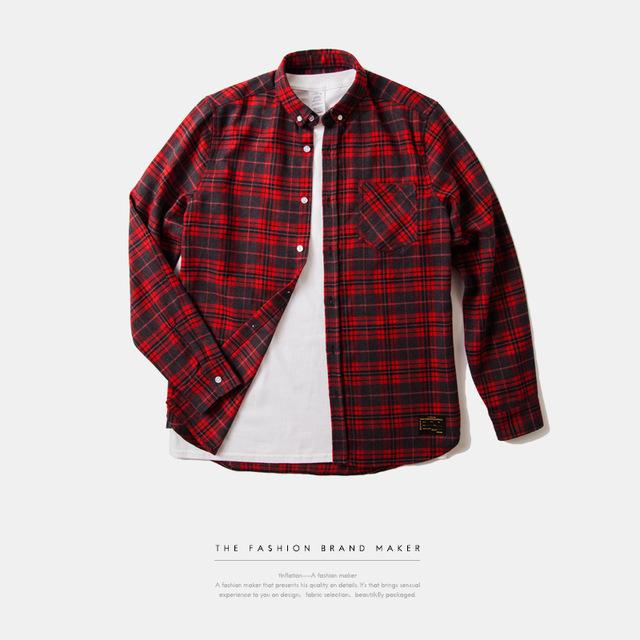 538950555990_红色 INF前短后长高品质面料格纹衬衣