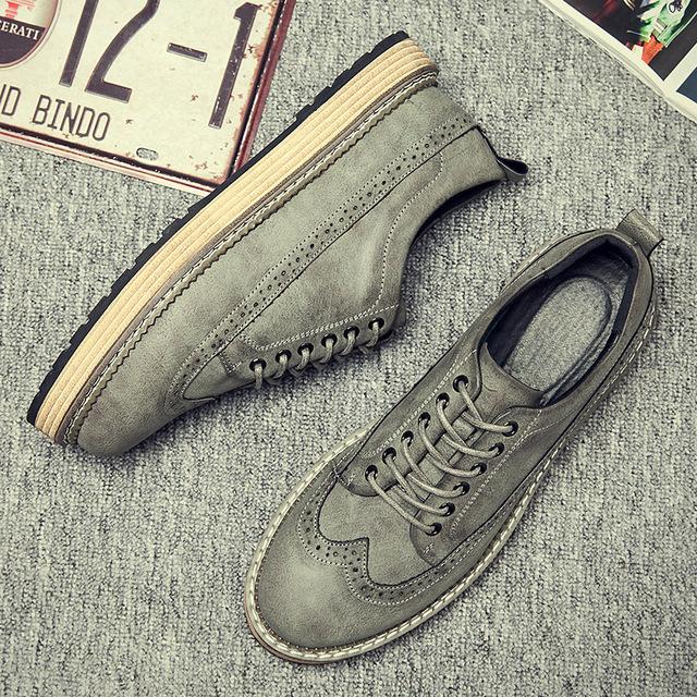 538097717771_1777灰色 英伦休闲复古布洛克皮鞋