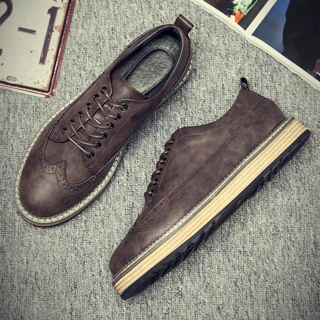 538097717771_1777棕色 英伦休闲复古布洛克皮鞋