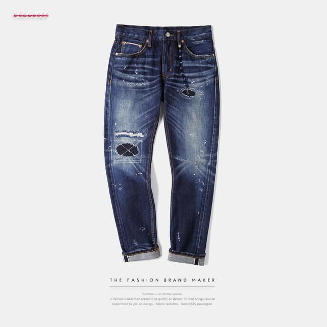 541361457584_蓝色 INF日系面料泼墨破洞赤耳丹宁男式牛仔裤