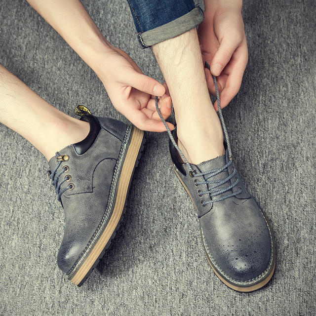 540466235940_88-11灰色 秋冬复古布洛克马丁鞋英伦休闲皮鞋