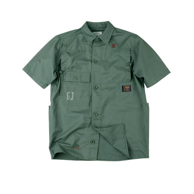 553756155515_军绿色 GOOD JOB中式盘扣水洗军事短袖衬衫