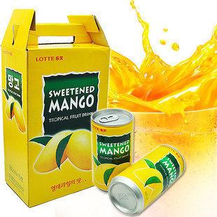 1233623302 正品韩国进口饮料 乐天芒果汁180ml 罐装