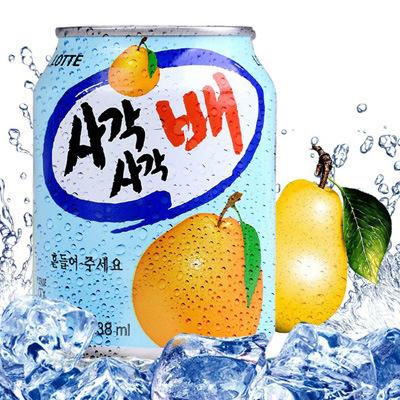 39868286132 韩国进口饮料 乐天lotte梨汁饮料238ml 梨果汁原味