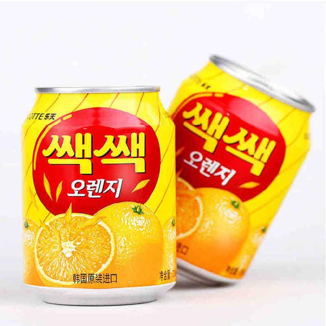 524664618645 韩国进口饮料乐天粒粒橙汁238ml 夏味桔子橙果果汁 橘