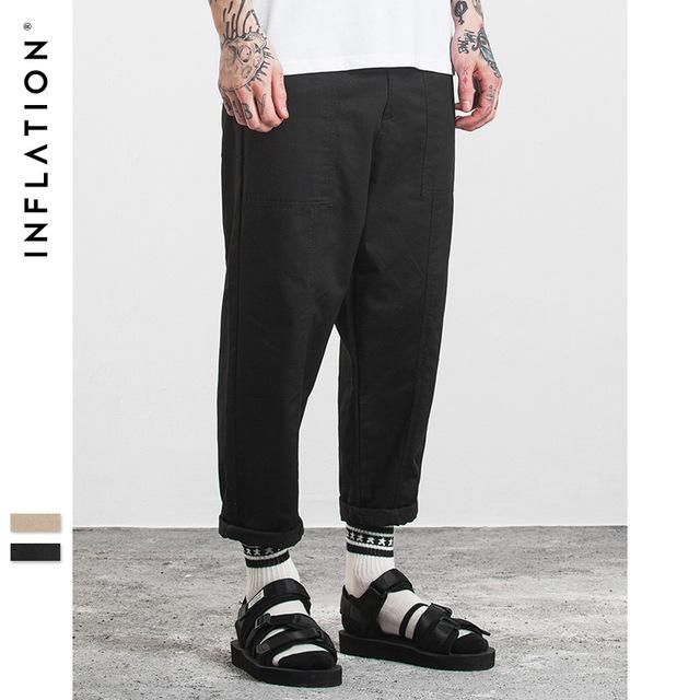 555537734998_黑色 INF2017秋装新款简约纯色立体拼接男式九分裤基础