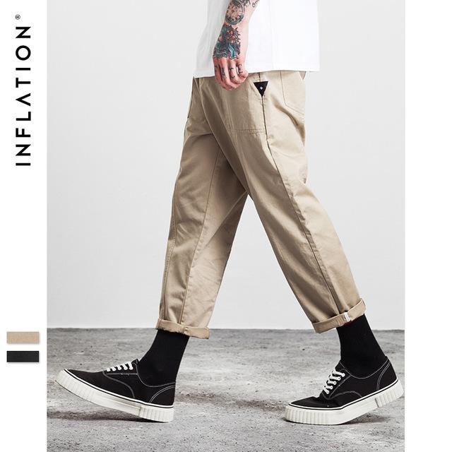555537734998_卡其 INF2017秋装新款简约纯色立体拼接男式九分裤