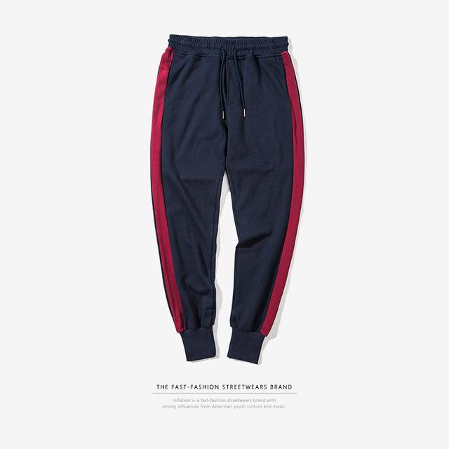 555069534848_宝蓝 INF2017秋装新款 潮牌撞色条纹缩脚裤