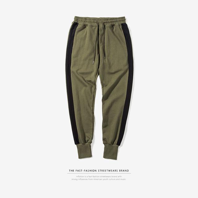 555069534848_军绿 INF2017秋装新款 潮牌撞色条纹缩脚裤