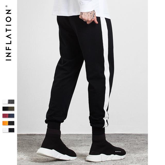 555069534848_黑-白 INF2017秋装新款 潮牌撞色条纹缩脚裤