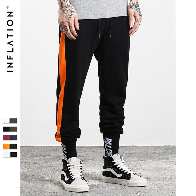 555069534848_黑橙 INF2017秋装新款 潮牌撞色条纹缩脚裤