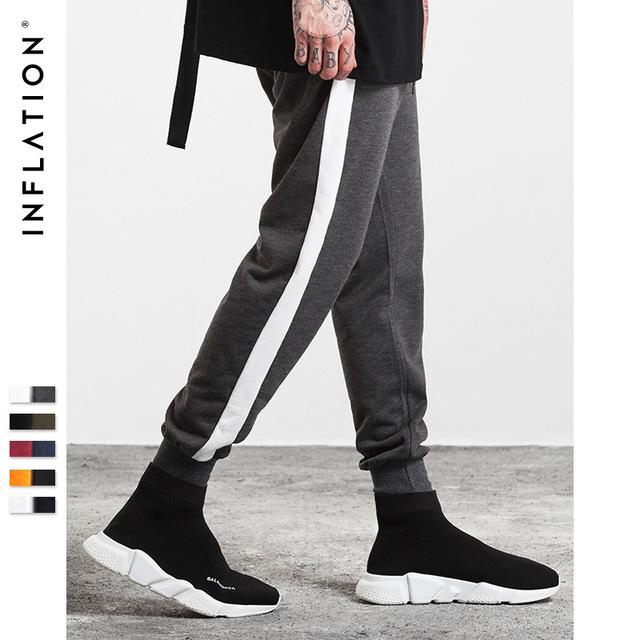 555069534848_灰-白 INF2017秋装新款 潮牌撞色条纹缩脚裤