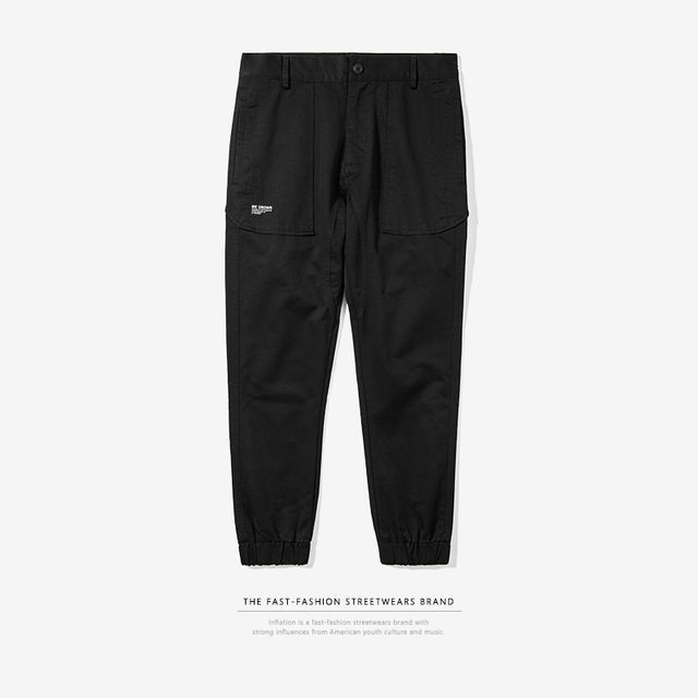 556258061018_黑色 INF男装|2017秋装新款潮牌纯色joggerpants缩脚束脚裤