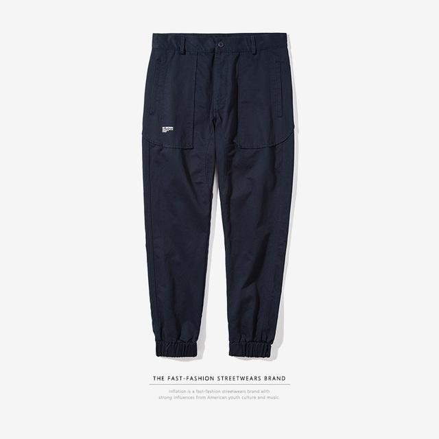 556258061018_宝蓝 INF男装|2017秋装新款潮牌纯色joggerpants缩脚束脚裤