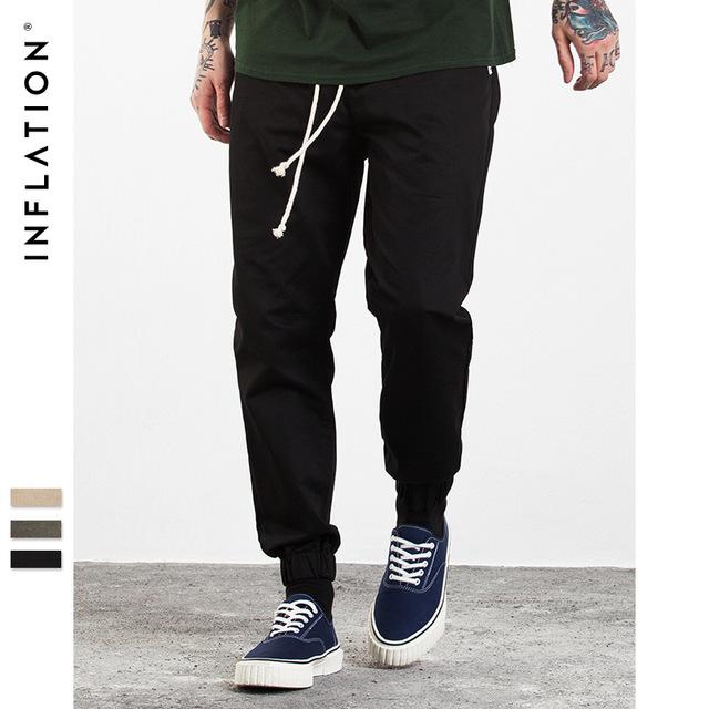 555419148623_黑色 INF男装|2017秋装新款 潮牌joggerpants系带缩脚束脚裤