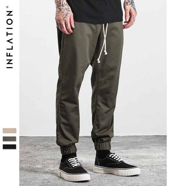 555419148623_军绿 INF男装|2017秋装新款 潮牌joggerpants系带缩脚束脚裤