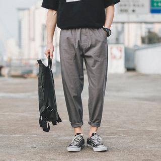 日系原创棉麻休闲裤春季中国风男装修身九分裤小脚裤深