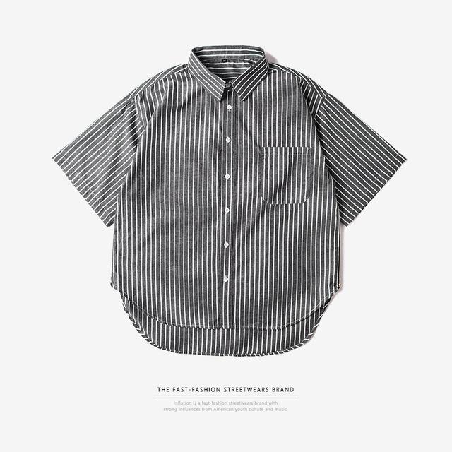 545332820286_灰色 INF侧拉链oversize前短后长条纹男式衬衫