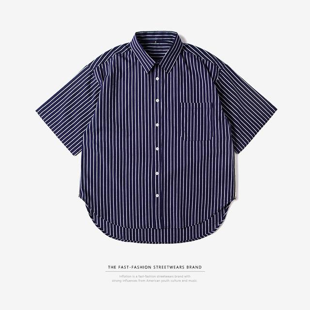 545332820286_蓝色 INF侧拉链oversize前短后长条纹男式衬衫