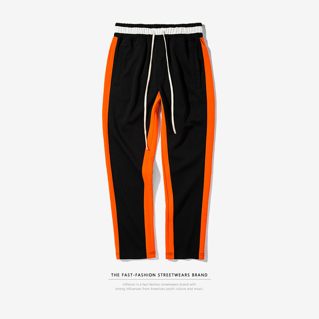 557793134709_黑-橙 INF秋季新款欧美撞色条纹男式运动裤松紧休闲