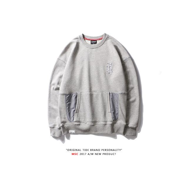 555635082648_灰色 纯棉圆领刺绣拼接口袋卫衣