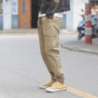 日系工装裤大口袋锥型小脚裤束口休闲裤