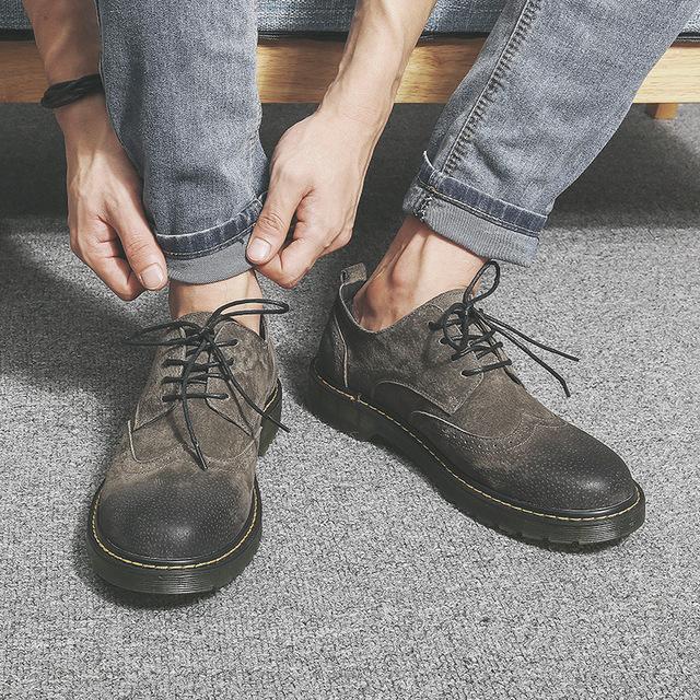558001208783_55988暗咖 真皮马丁复古布洛克大头鞋休闲皮鞋