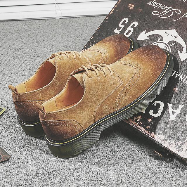 558001208783_55988沙色 真皮马丁复古布洛克大头鞋休闲皮鞋