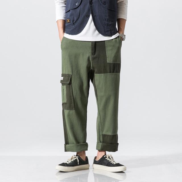558047078580_军绿 美系原创拼色直筒裤潮拼接宽松休闲裤