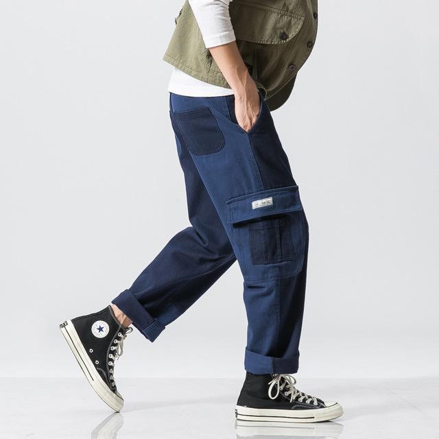 558047078580_藏青 美系原创拼色直筒裤潮拼接宽松休闲裤