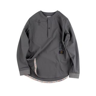 ANB GOODJOB中式盘扣套头加长衬衫灰色