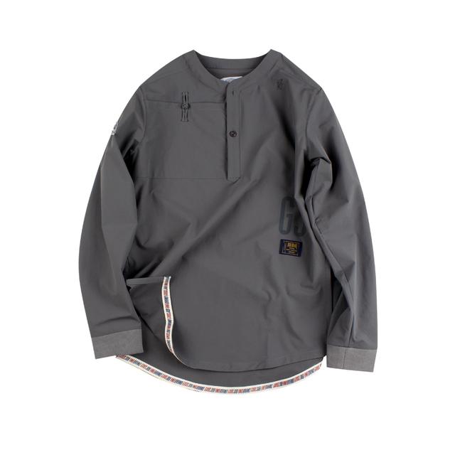 561129369735_灰色 ANB GOODJOB中式盘扣套头加长衬衫灰色