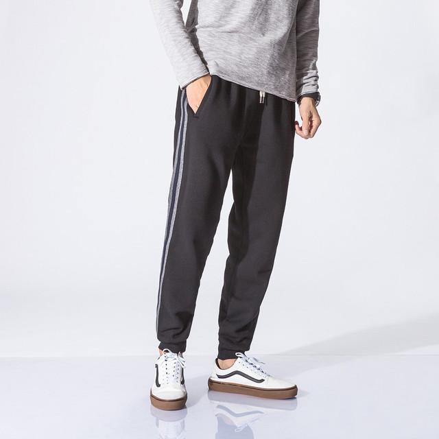 561514536938_黑色 冬款加绒卫裤竖条拼接运动裤潮流束脚裤收口裤