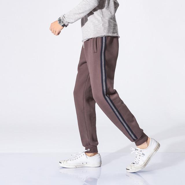 561514536938_咖色 冬款加绒卫裤竖条拼接运动裤潮流束脚裤收口裤