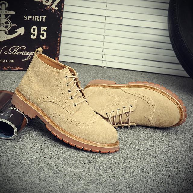 561306051101_19977 真皮马丁靴复古工装军靴潮流棉鞋布洛克战狼靴