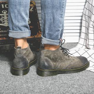 布洛克真皮短靴子英伦男鞋冬季加绒保暖马丁靴