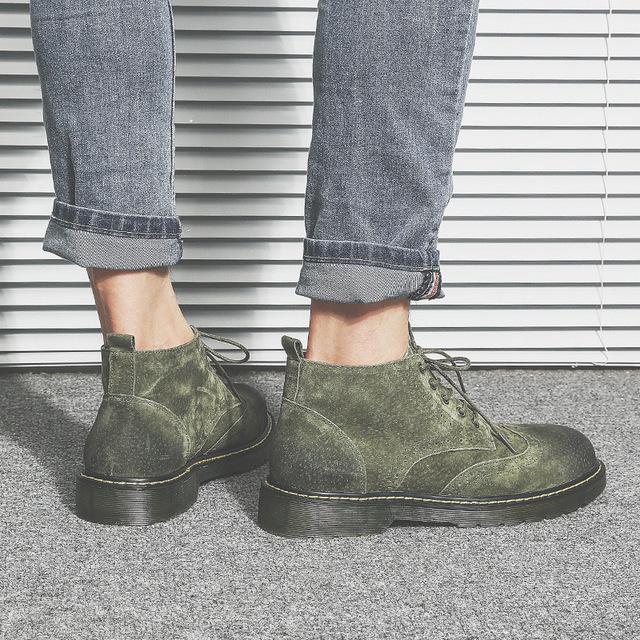 558139222992_66988蟒绿 布洛克真皮短靴子英伦男鞋冬季加绒保暖马丁靴