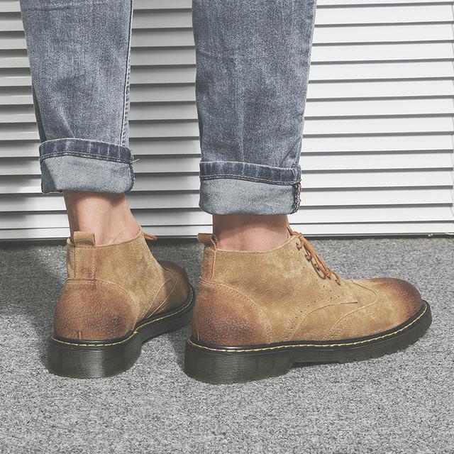 558139222992_66988沙色 布洛克真皮短靴子英伦男鞋冬季加绒保暖马丁靴