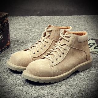 中帮短靴子真皮英伦工装沙漠大黄靴马丁靴