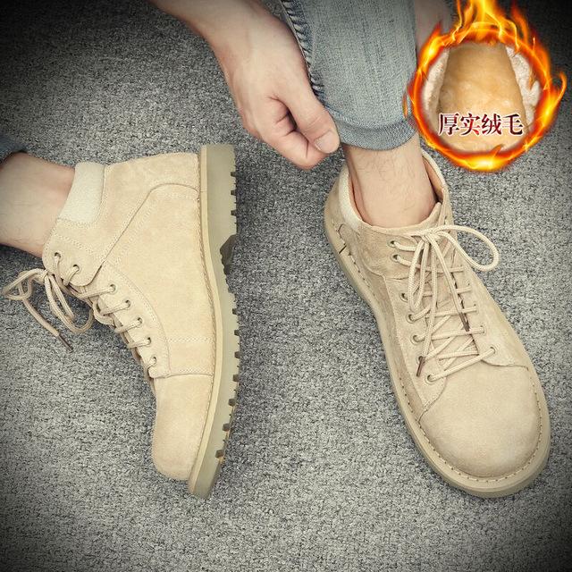 559573097057_29966加绒棕色 中帮短靴子真皮英伦工装沙漠大黄靴马丁靴