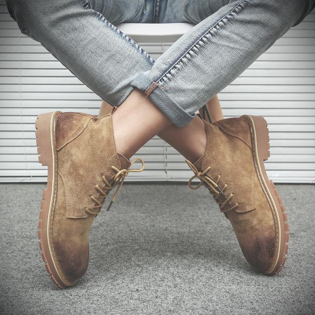 560965138532_20709沙色 真皮马丁靴男英伦沙漠靴工装鞋潮靴子复古军靴中高帮