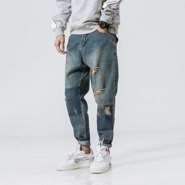 564353425432_浅蓝色 2018春季新款男裤原创侧边条拼接牛仔裤青年男式哈伦裤