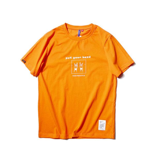 566734089243_橘色 2018夏季手势印花T恤衫青年学生修身圆领