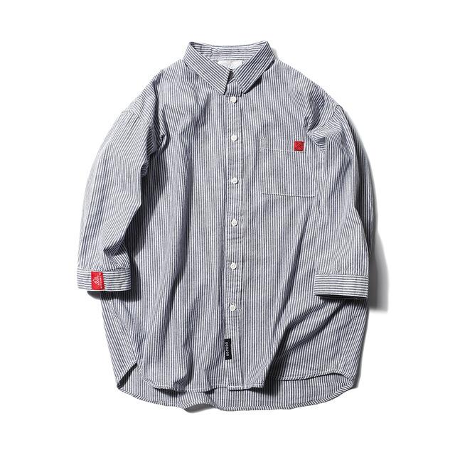 566612876932_灰色 春夏新款七分袖条纹衬衫日系青年修身
