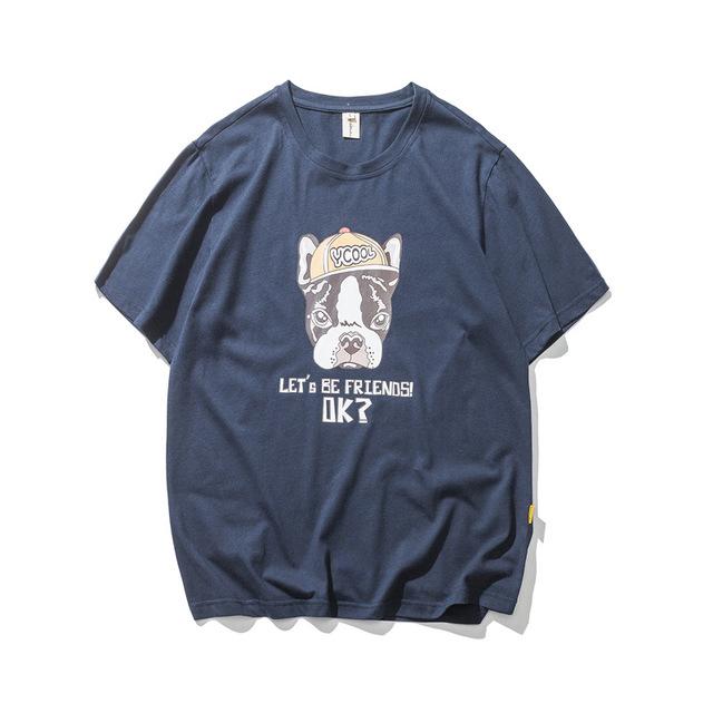 566968595069_藏青 夏季新街款头潮牌狗头图案印花纯棉T恤