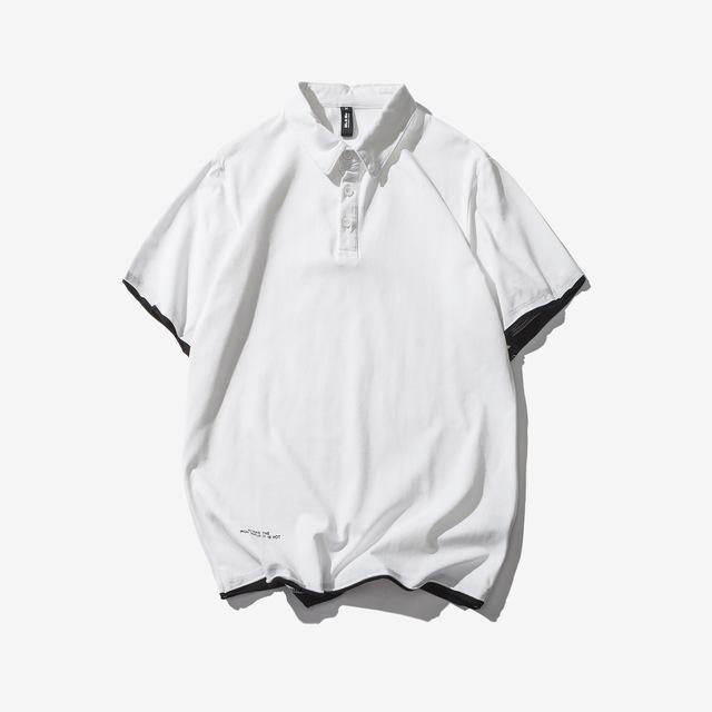 569137903466_白色 夏纯色假两件翻领polo衫日系休闲简约短袖T恤
