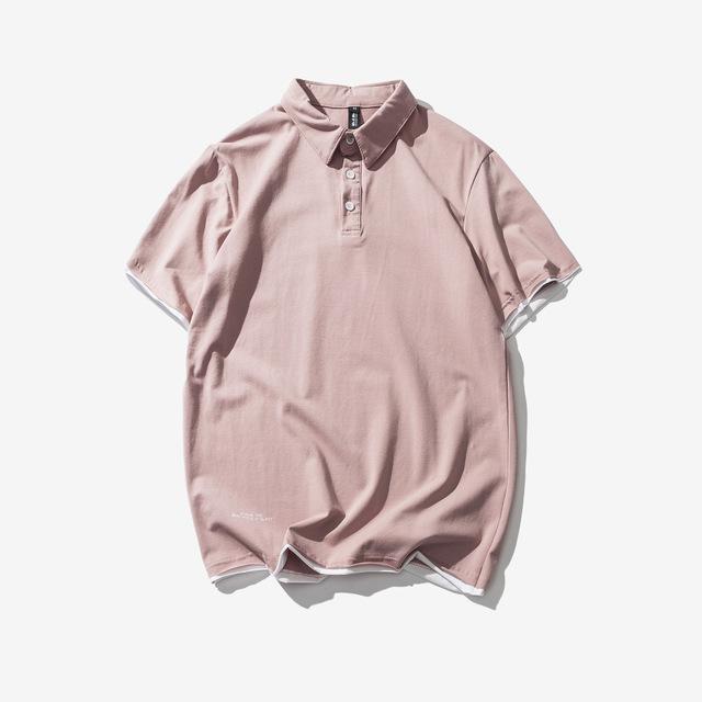569137903466_粉色 夏纯色假两件翻领polo衫日系休闲简约短袖T恤