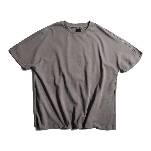 566902831389_灰色 潮外夏装新款纯色蝙蝠袖T恤男原创潮流青年男生圆领百